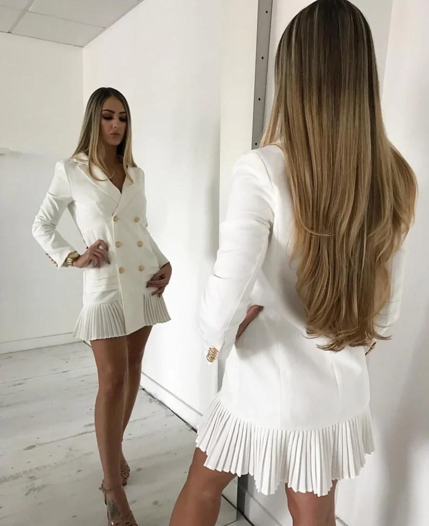Tarra Double breasted White Dress Jacket  Love Storey