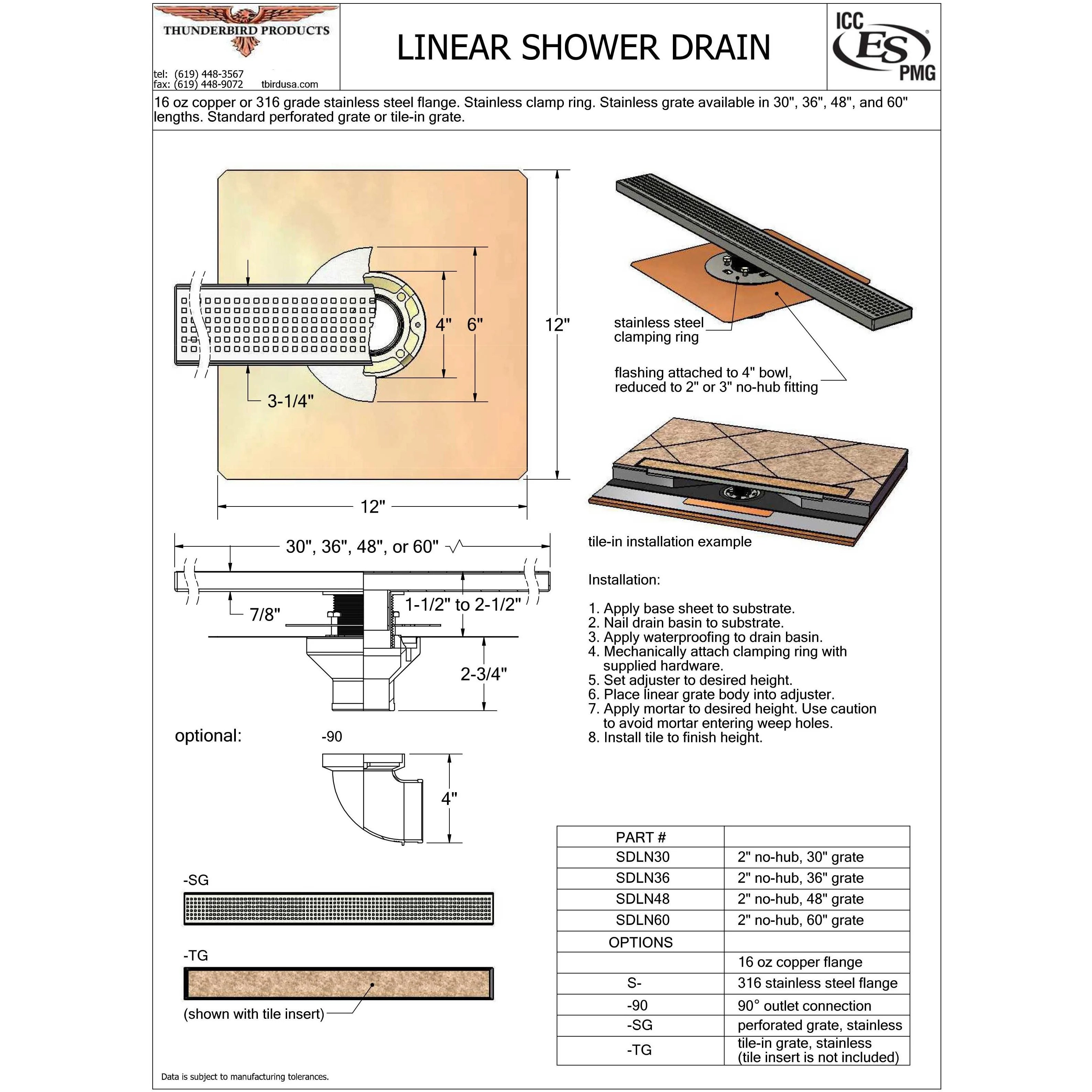 linear shower drain with copper drain body