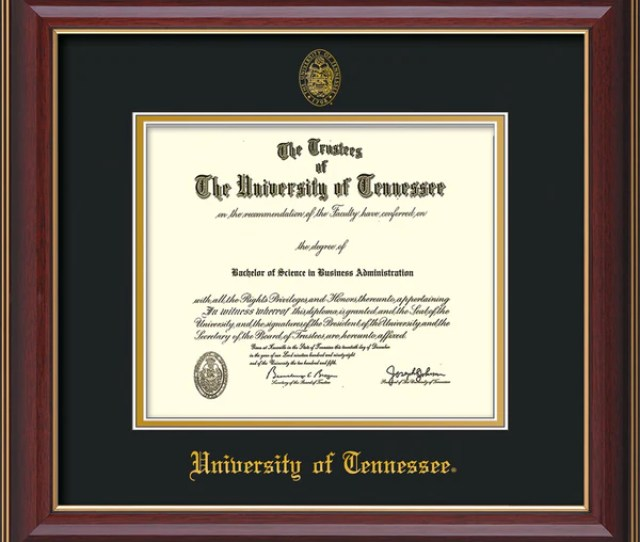 University Of Tennessee Diploma Frame Cher Lacquer Utk Seal Black Gold Official Diploma Frames