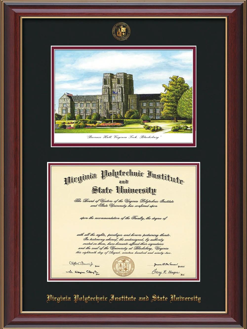 Vt Diploma Frame-rosewood Gold Lip-withvt Fall Burruss-black