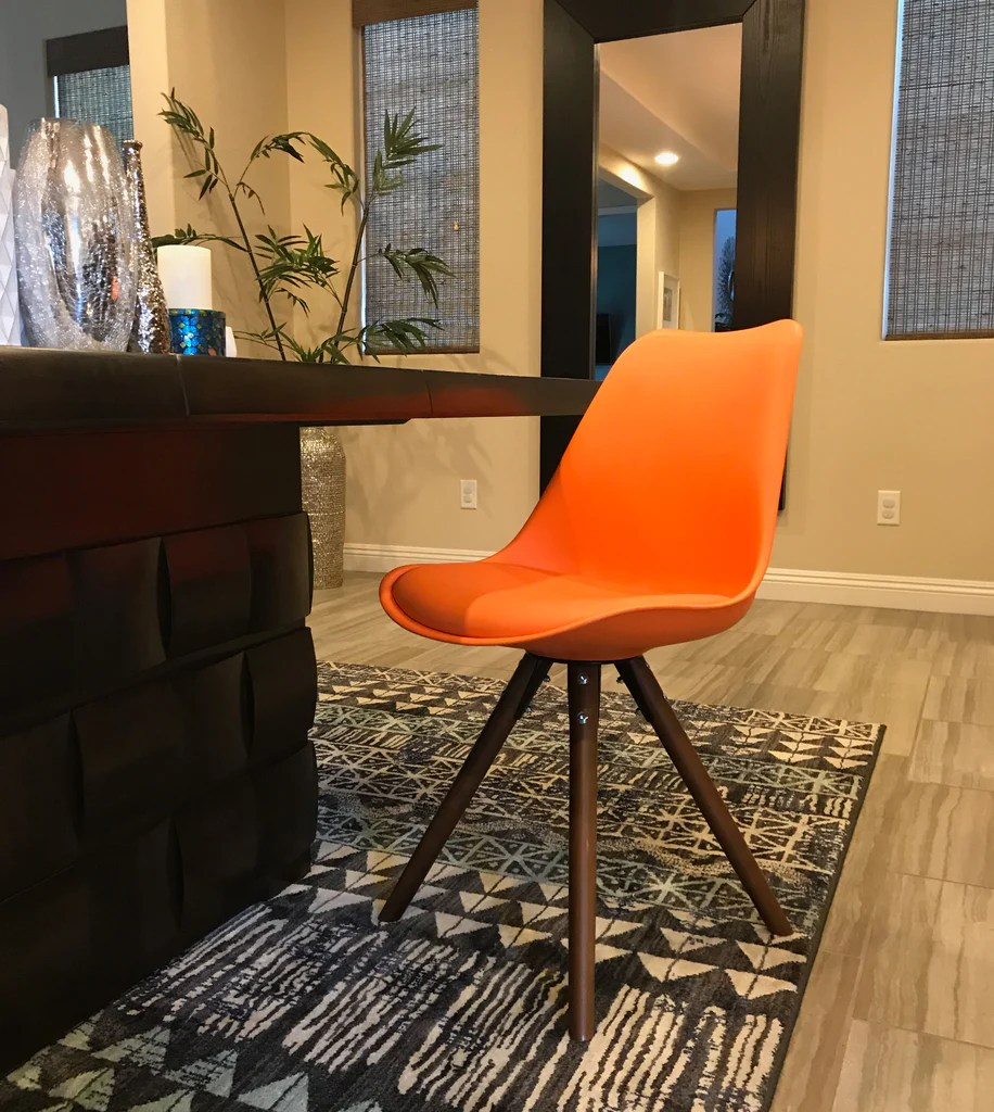 orange side chair ikea poang review viborg mid century with walnut wood base set of 2