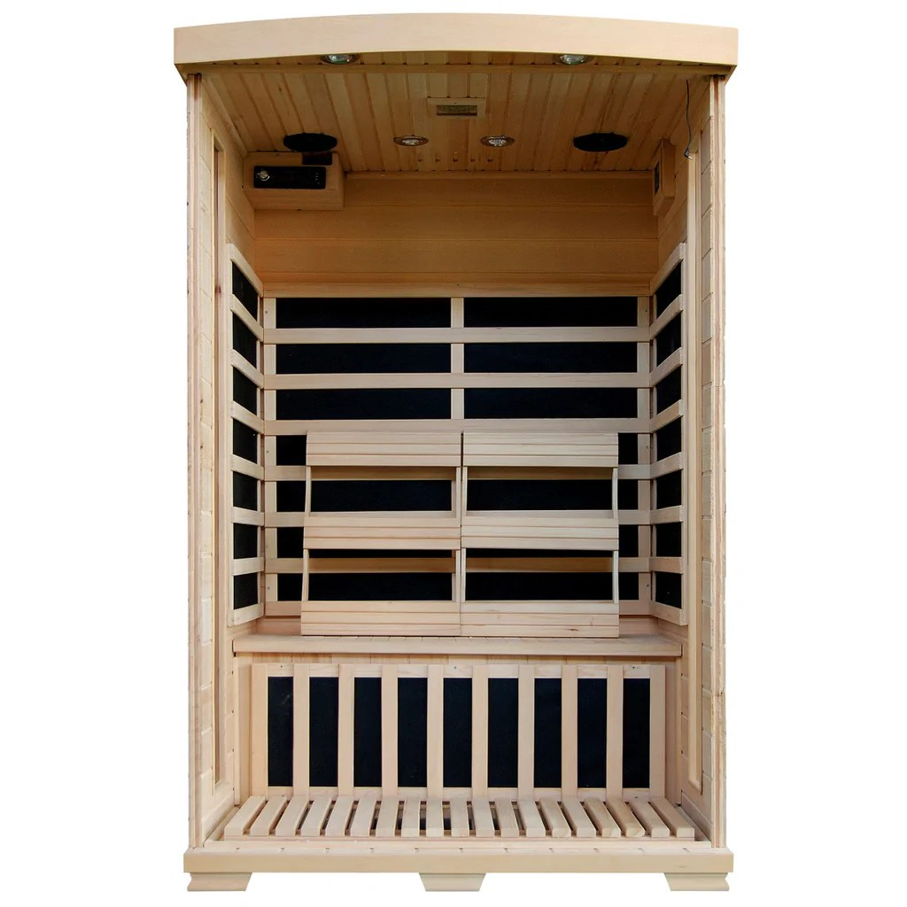 coronado 2 person hemlock deluxe infrared sauna with 6 carbon heaters [ 1024 x 1024 Pixel ]
