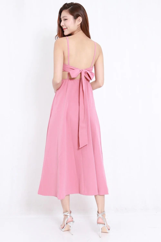 Ribbon Back A Line Dress Pink  Carrislabelle