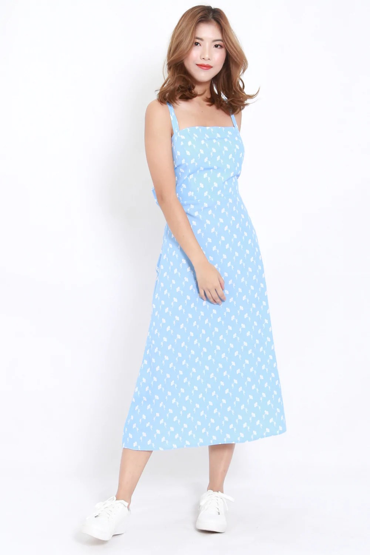 Ribbon Back Blue Maxi Dress  Carrislabelle