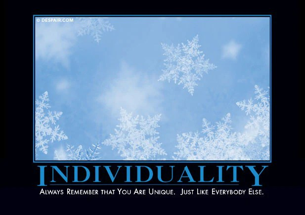 Individuality: Always remember that you are unique.  Just like everybody else.