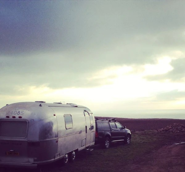 Vintage airstream in Scottish highlands