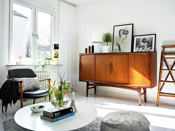 Small danish teak mid century sideboard in swedish house