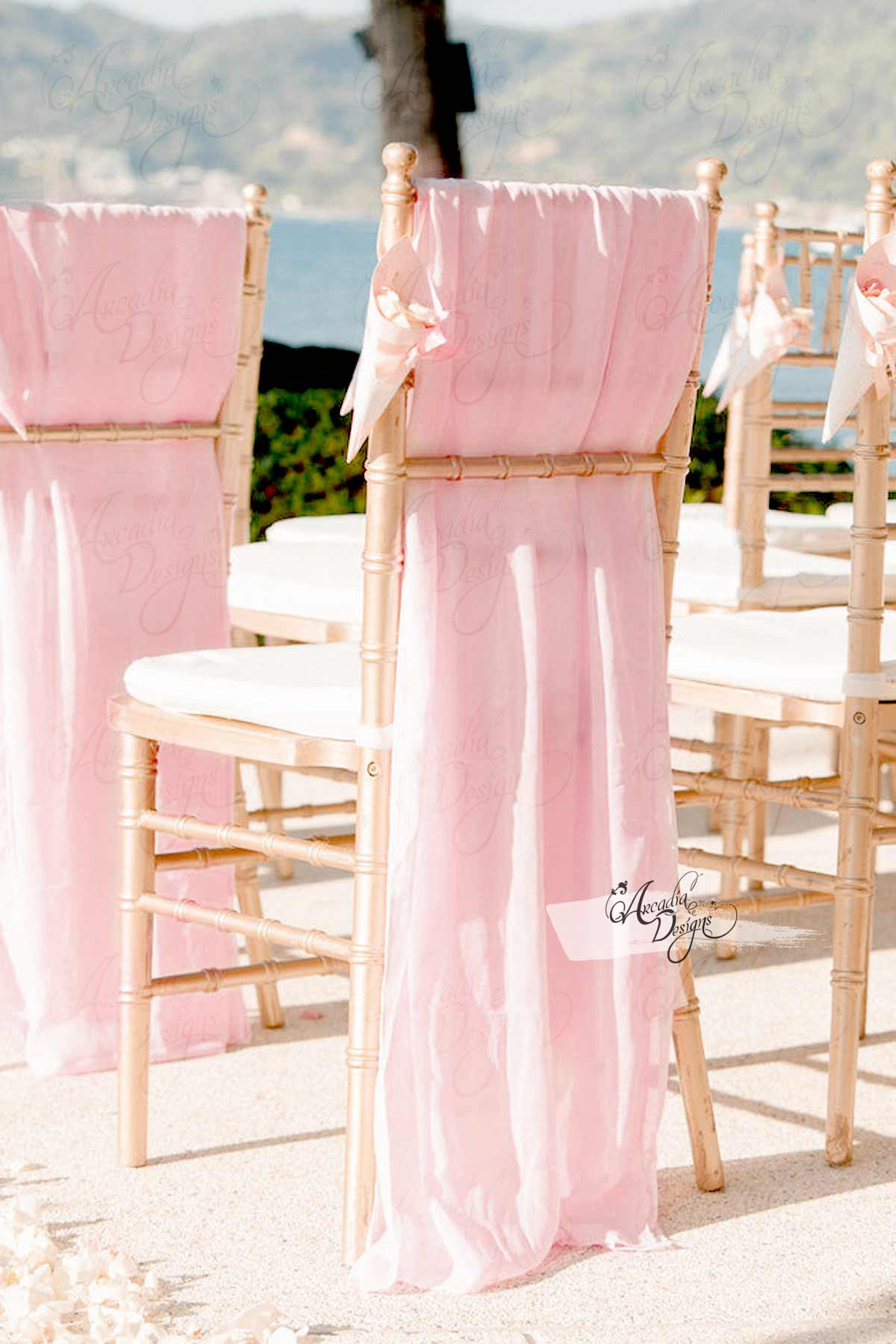 where to buy chair sashes antique wicker back chairs sheer white chiffon sash arcadia designs blush pink