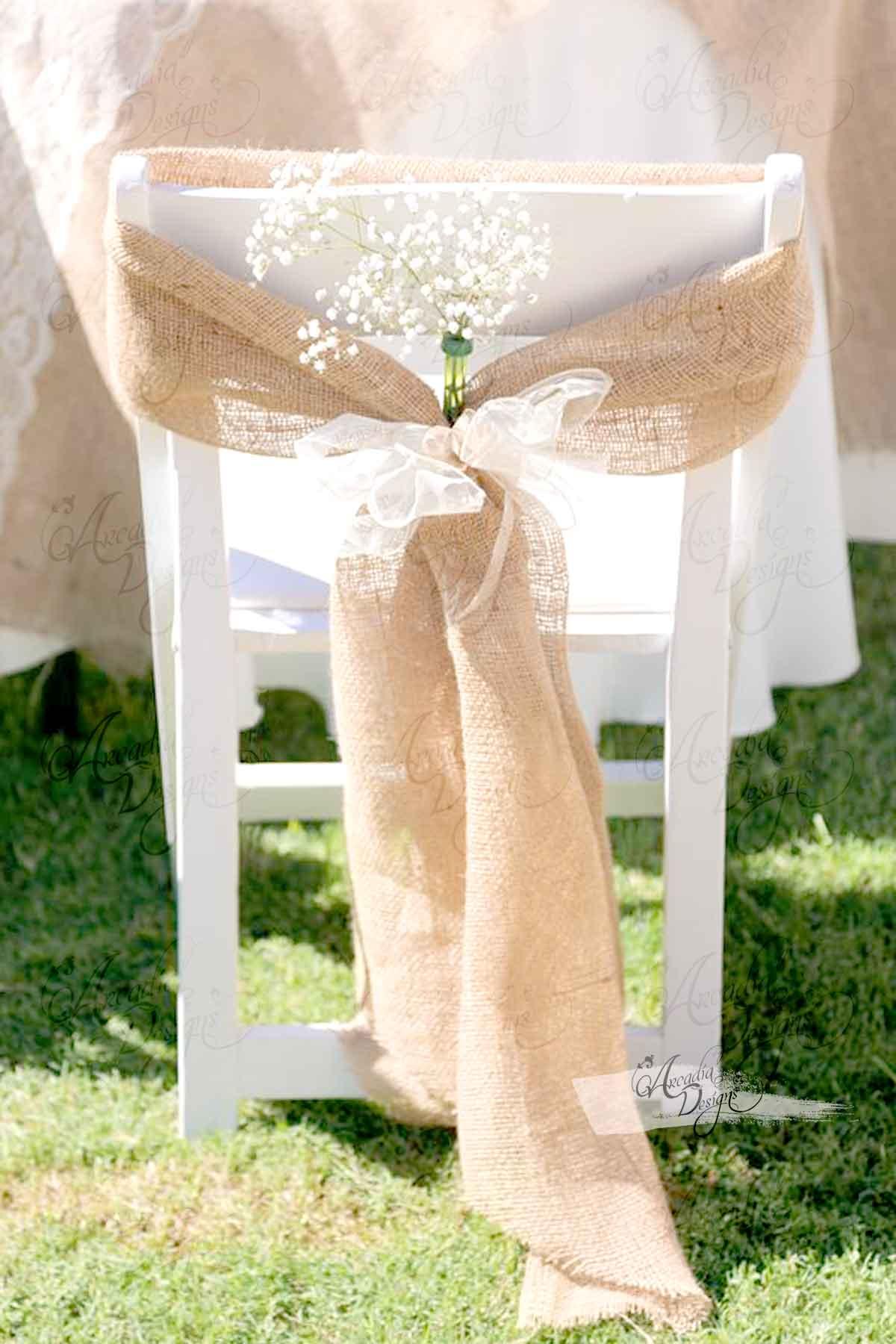 folding chair sashes 2 seater table and chairs b m natural burlap sash arcadia designs regular