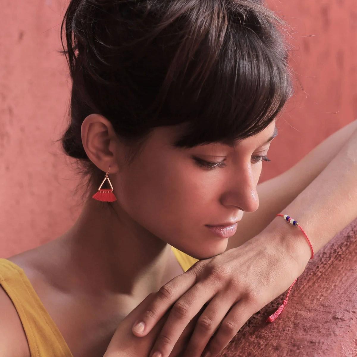 Earring Hello Triangle - Deep Red – Blush Indigo Jewellery