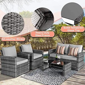 aoxun 4 piece wicker patio furniture set with soft cushions all weather patio furniture set outdoor sectional sofa group with coffee table grey