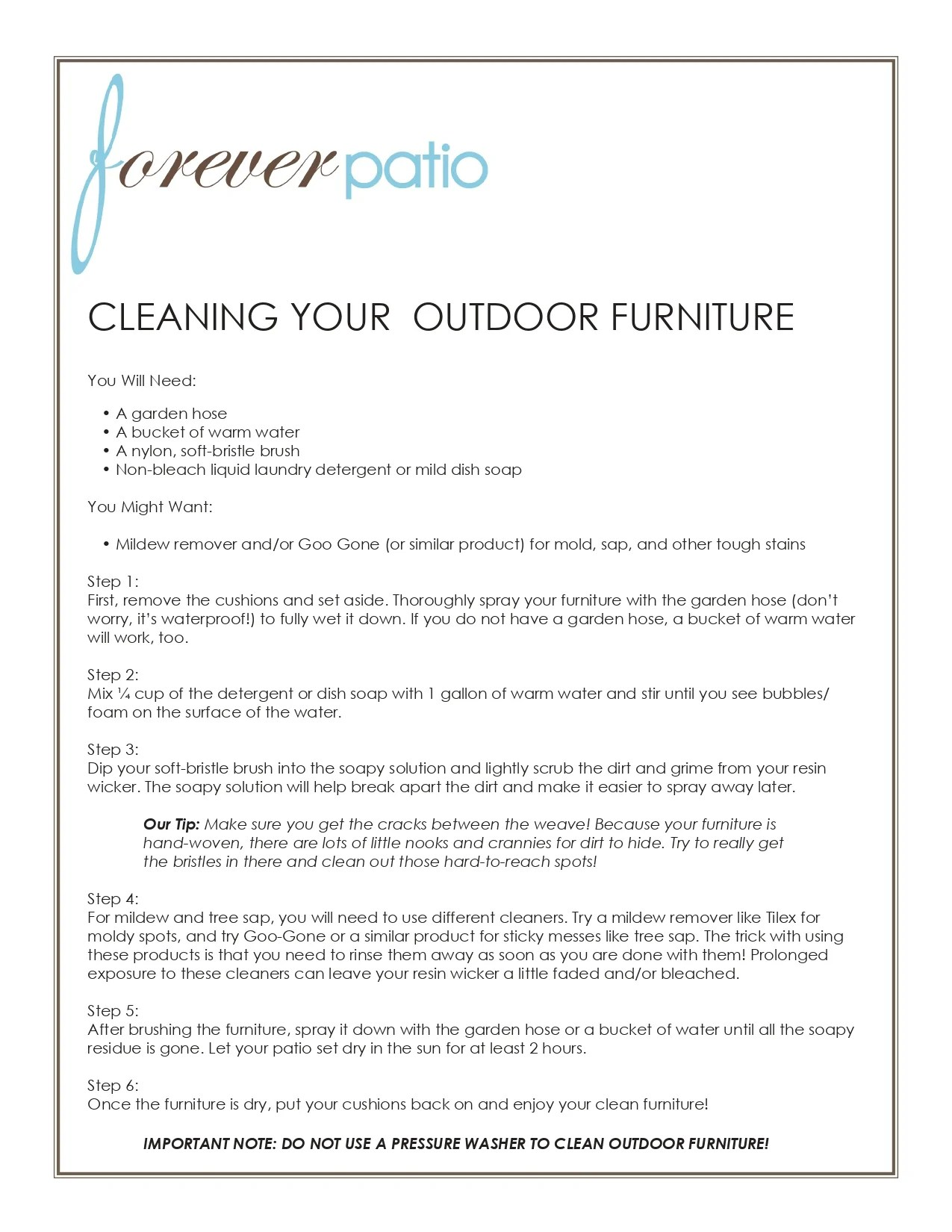 cleaning your outdoor furniture