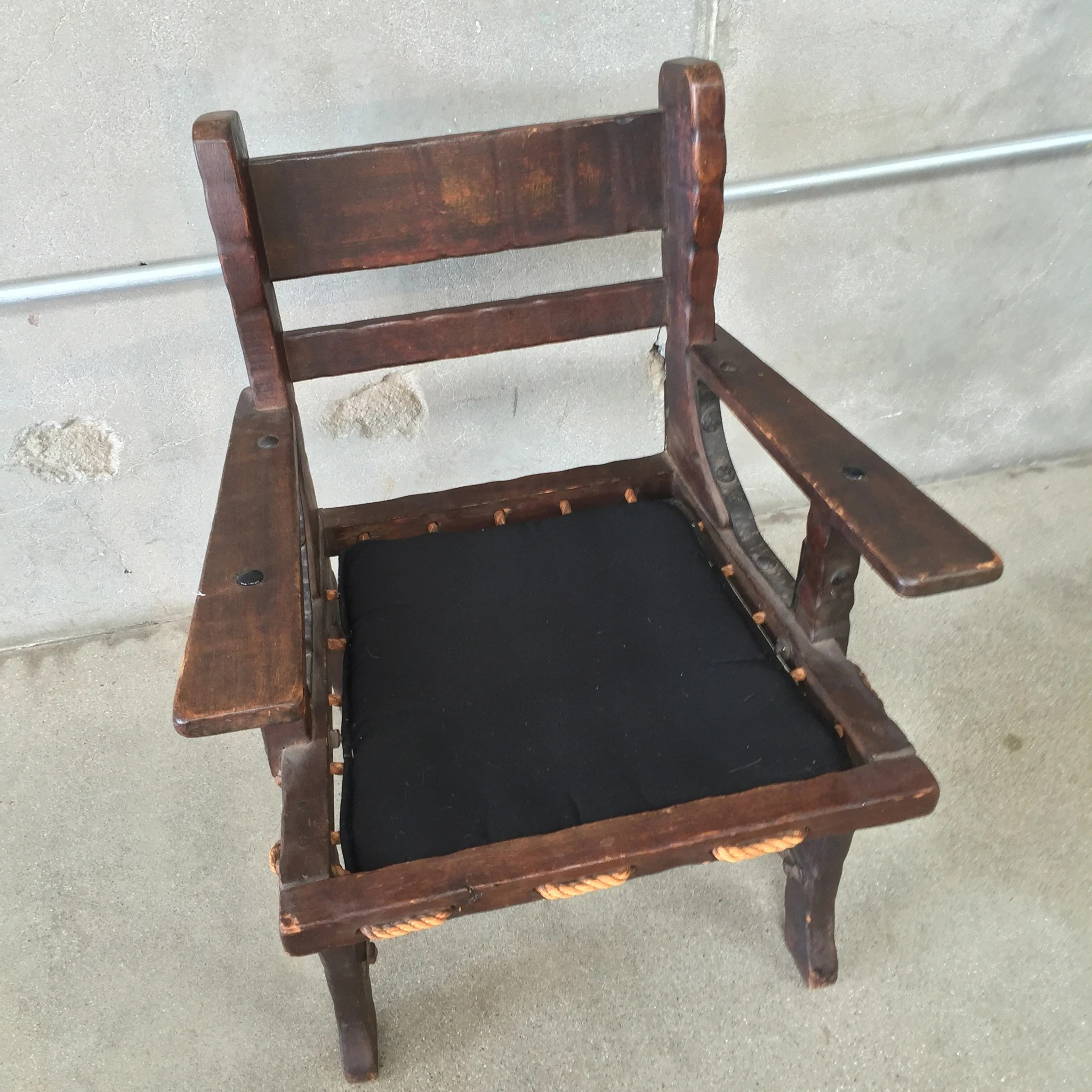 rope bottom chair cane occasional chairs monterey side with and iron stretchers