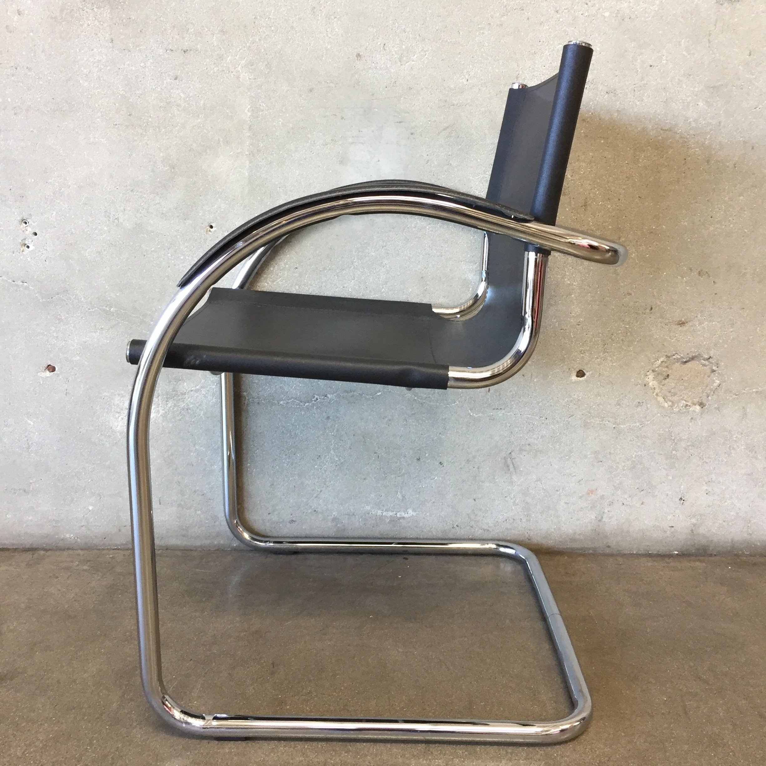leather chrome chair office chairs no wheels vintage