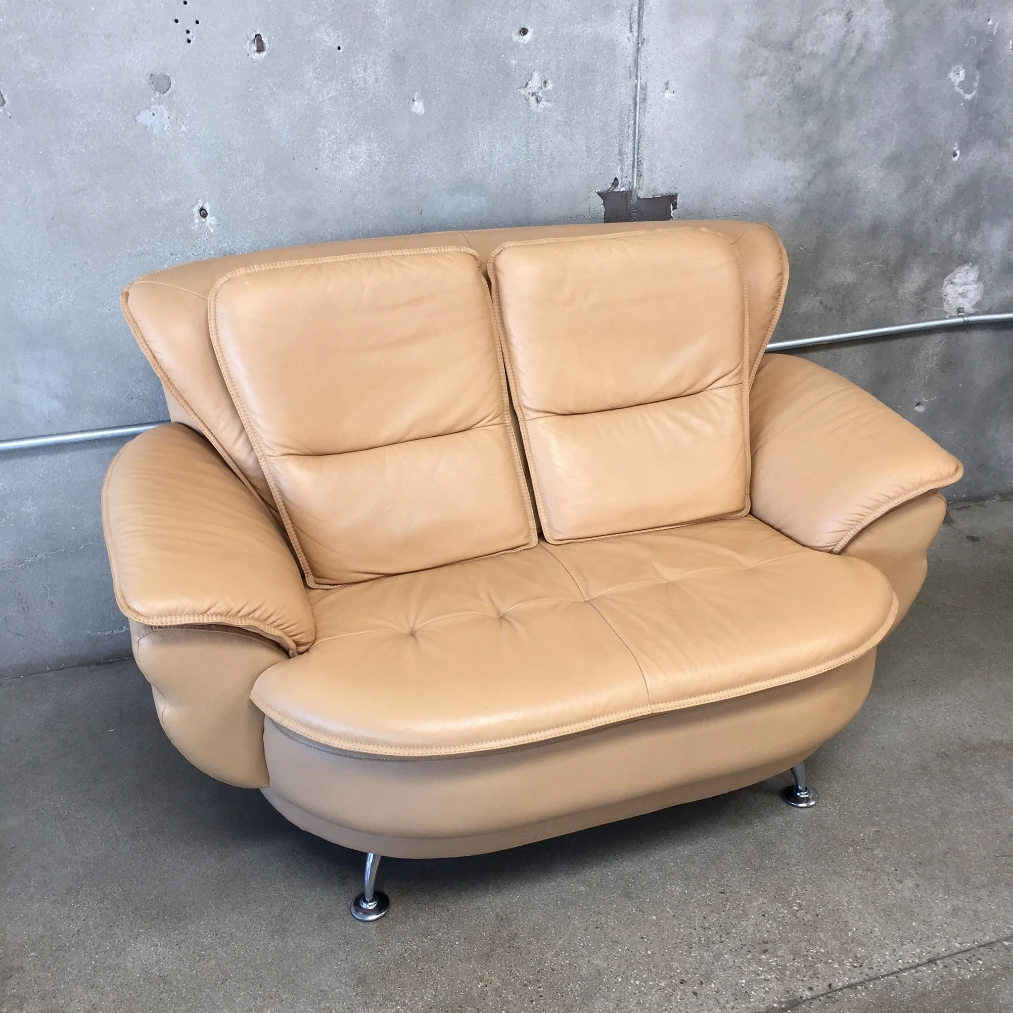swivel chair sofa set ebay poang covers mid century saddle color loveseat and