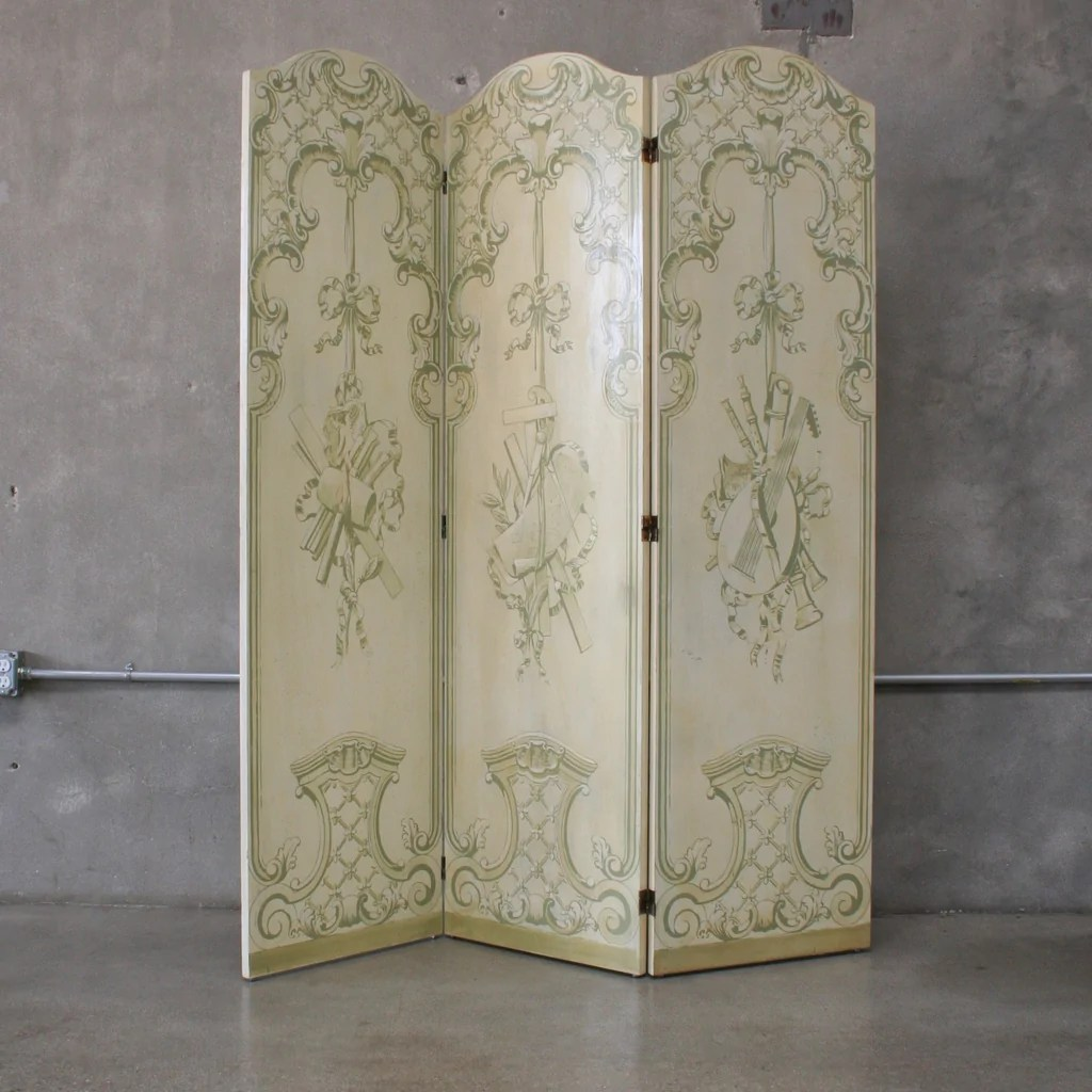 Vintage Hand Painted Tri Fold Room Divider Dressing Screen Urbanamericana