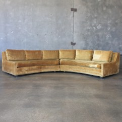 Hollywood Regency Curved Sofa Best Leather Cleaner And Conditioner Reviews Vintage Gold Velvet Sectional
