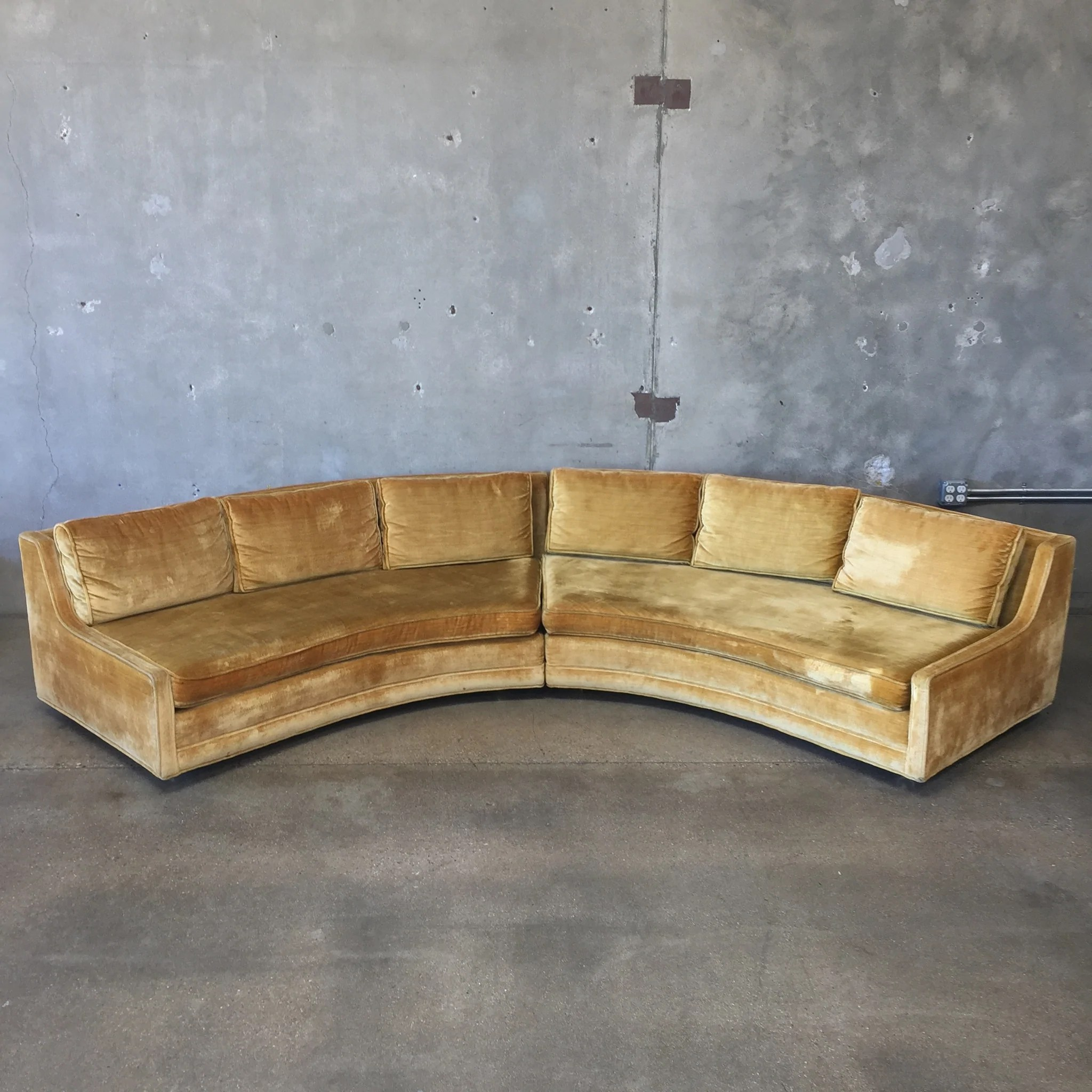 hollywood regency curved sofa bed and cuddle chair set vintage gold velvet sectional