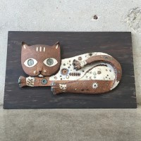 Mid Century Ceramic Cat Wall Art  UrbanAmericana