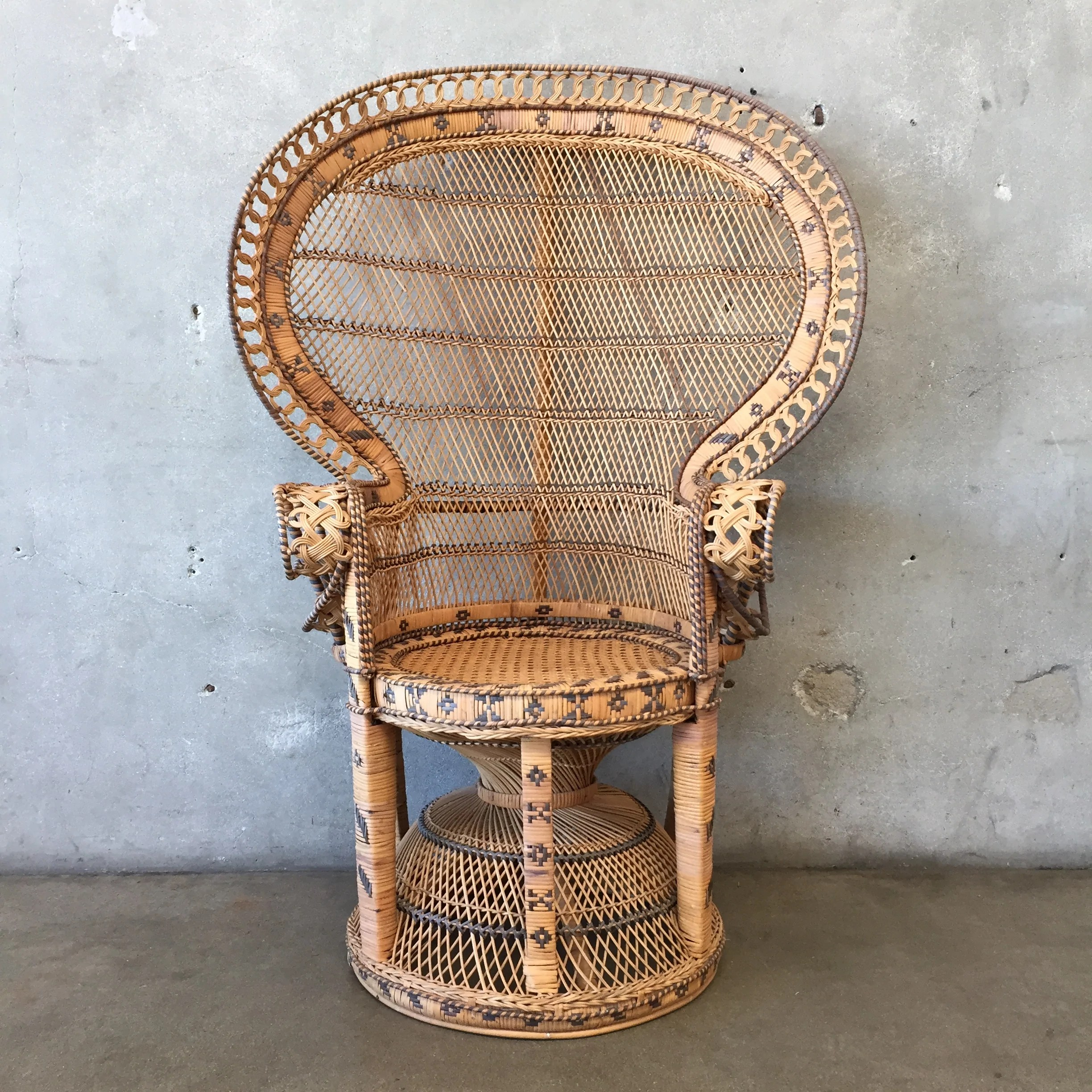 vintage peacock chair folding shower with back wicker tap to expand