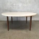 Vintage Mid Century Marble Top Round Coffee Table