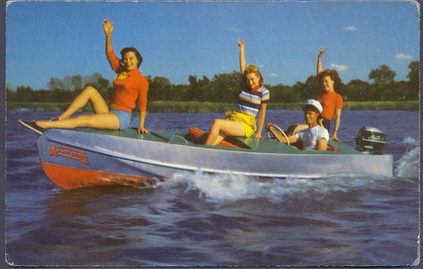 Circa 1950s Lone Star Aluminum Boat w Elgin Engine