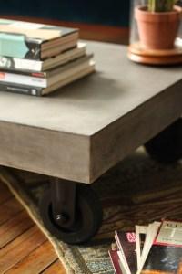 Furniture Maison | Vega Concrete Coffee Table on Wheels