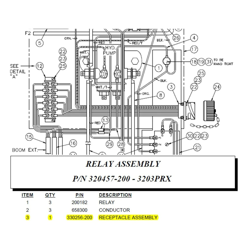 hight resolution of  auto crane 330256200 receptacle assembly wired for 3203prx