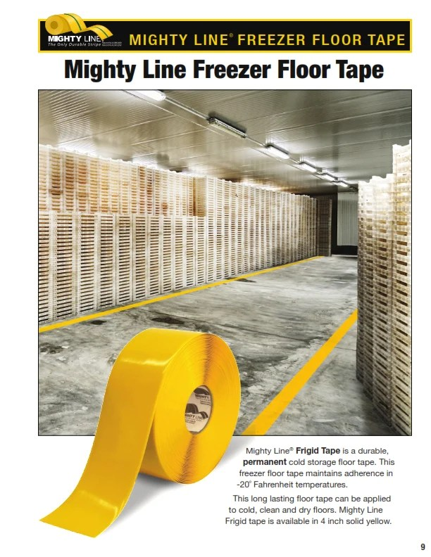 5S Warehouse freezer floor tape can be applied at 20 F  Shop Mighty Line Safety Floor Tapes