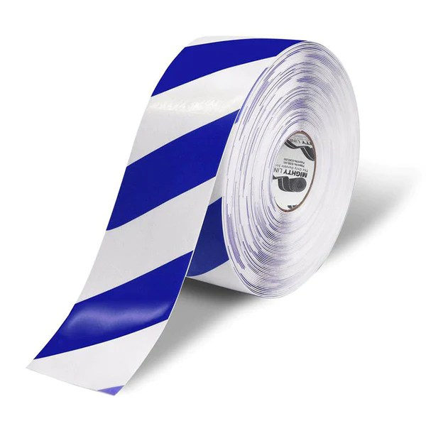 4 White Floor Tape with Blue Diagonals  Safety Tape