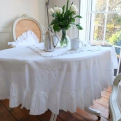 Dining Chair Slip Covers Uk Rio Beach Chairs Ruffled Linen Rectangle Tablecloth - Large – Oscar & French Ltd