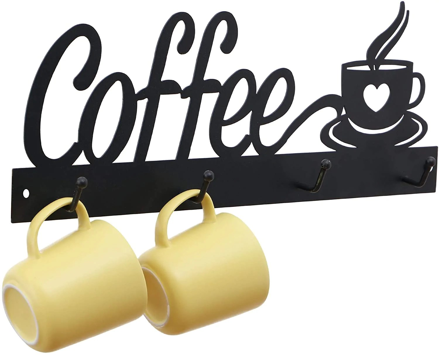 annyhome metal coffee mug holder wall mounted hanging coffee cup racks for wall with 4 hooks coffee signs for coffee bar kitchen or cafe decor
