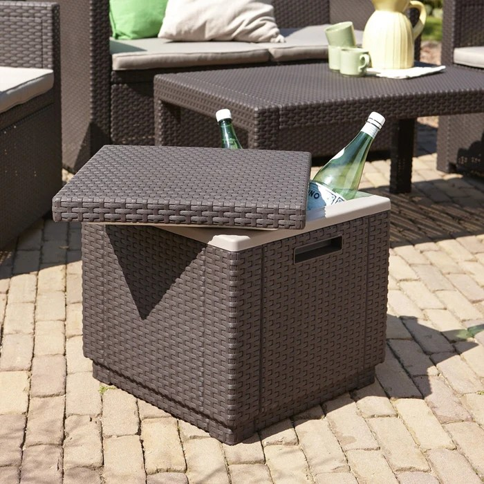 ice cube cooler table brown