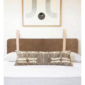driftwood brown velvet wall hung headboard cushion with leather straps