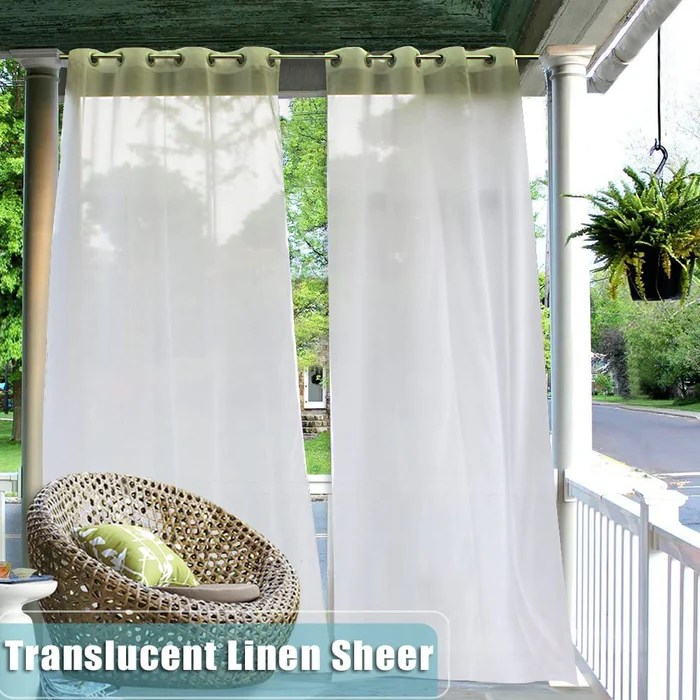 white outdoor waterproof grommet linen sheer privacy porch outdoor curtains for patio porch 1 pcs