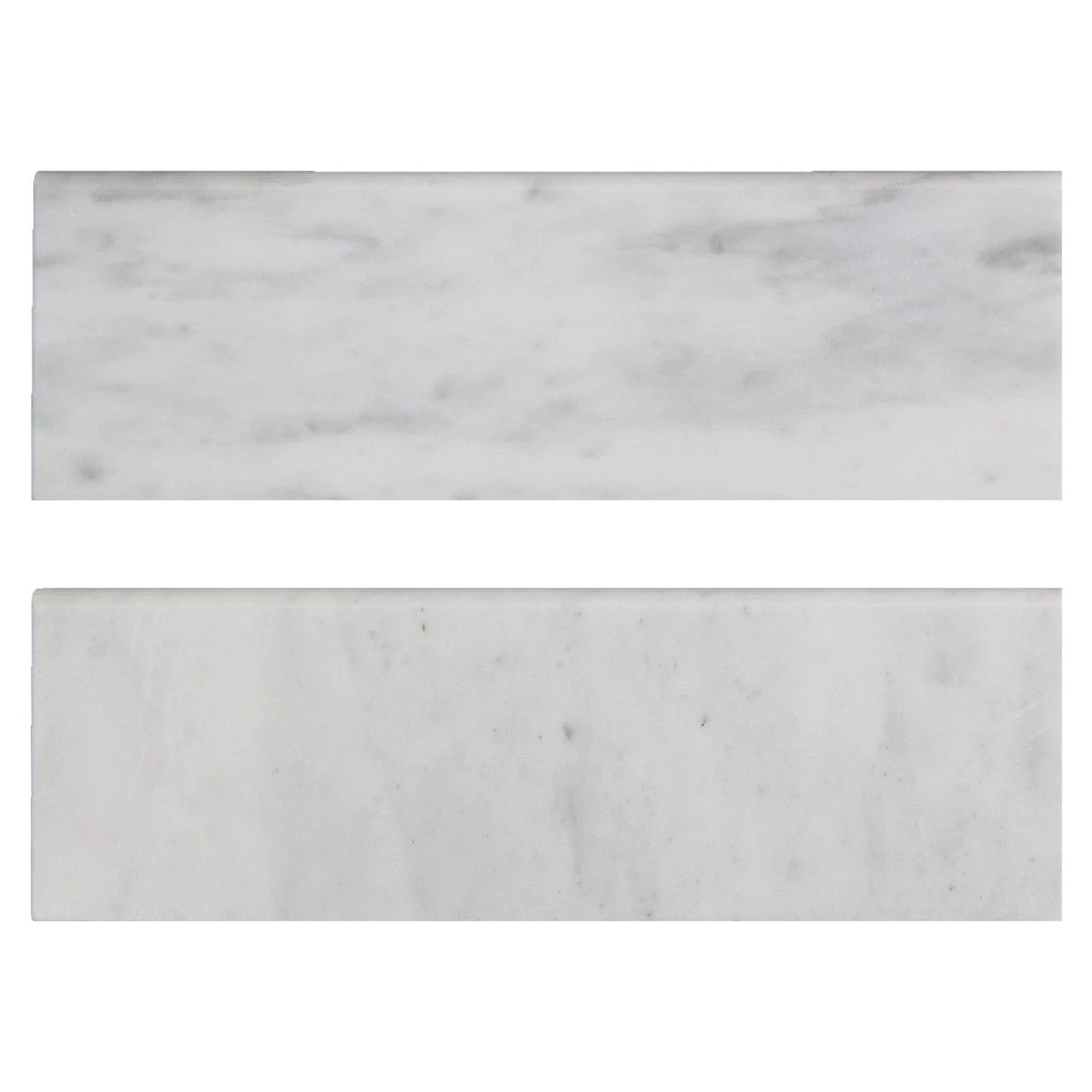 4 x 12 carrara arabescato marble bullnose tile trim honed jerseytiledepot