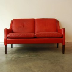 Red Leather Two Seater Sofa Beige Tufted Set Seat In Chase Sorensen