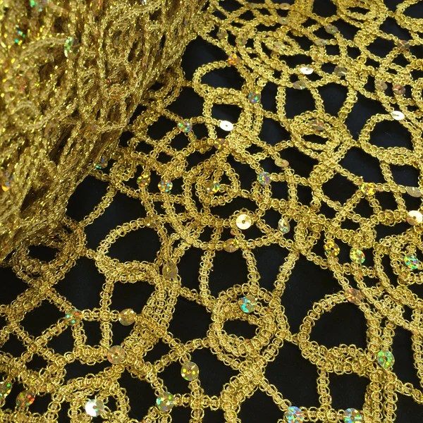 gold sequin chair covers vintage wooden chairs corded lace - fabric wholesale direct