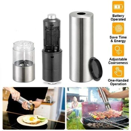 Automatic Salt Pepper Mill Grinder Battery Operated Stainless Steel Grinder