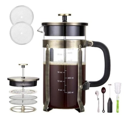 French Press Coffee Tea Maker 1000ML 8 cups Stainless Steel Double Sides