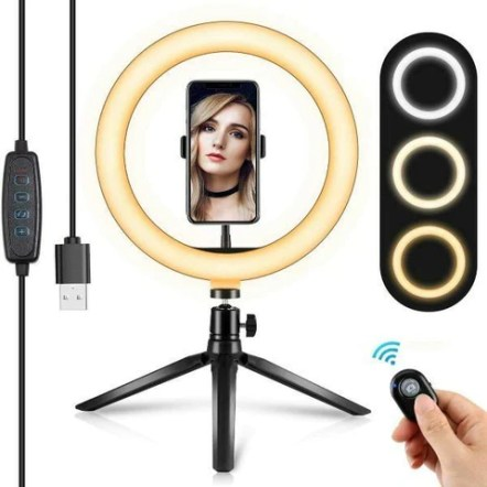 """LED Ring Light 10"""" With Tripod Phone Holder Stand For YouTube Video"""