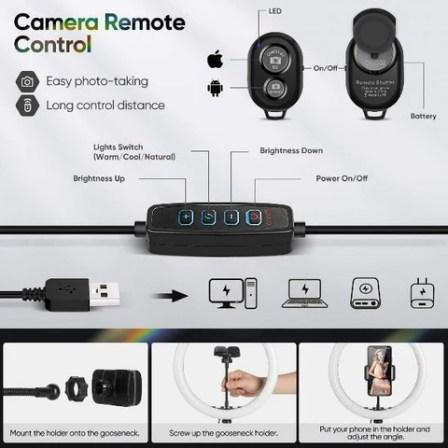 LED Selfie Ring Light with Tripod Phone Holder Stand 3 Light Modes