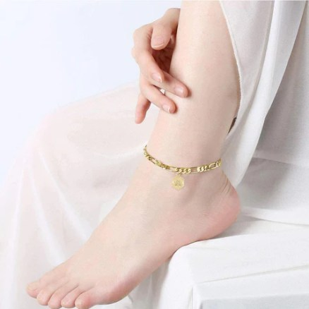 Single Letter Figaro Ankle Chain Gold Plated Women's Foot Chain