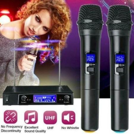 Wireless Microphone Mic System UHF 2 Channel Dual Handheld Karaoke Microphone