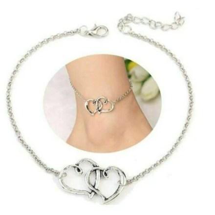Women's Ankle Bracelet Double Heart Arrow Shape Stainless Steel Chain Bracelet