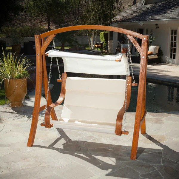 Hanging Wood Bench Love Seat Chair Swing Patio Outdoor