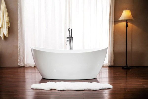 Modern Pedestal Style Soaking Bathtub Tub W Floor