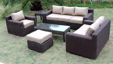 big sur full round weave 6 piece outdoor wicker patio furniture set