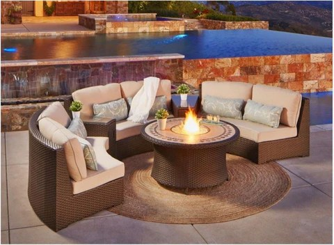 outdoor curved wicker rattan patio furniture chair set with fire pit and tables 6 cushions