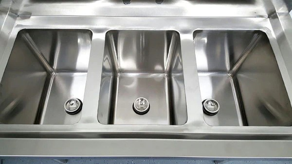 3 Compartment Commercial Stainless Steel Triple Sink Wash